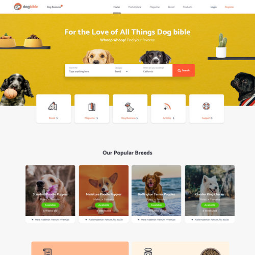 Page design with the title 'Dog bible'