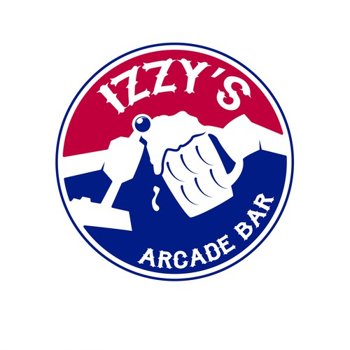 Pinball logo with the title 'Izzy's Arcade bar logo'