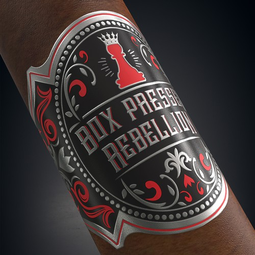 Vintage label with the title 'Box Pressed Rebellion Cigar Band Design'