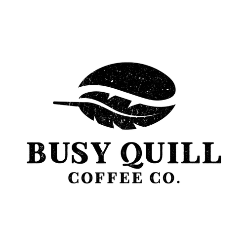 Coffee shop design with the title 'Busy Quill Coffee Co.'