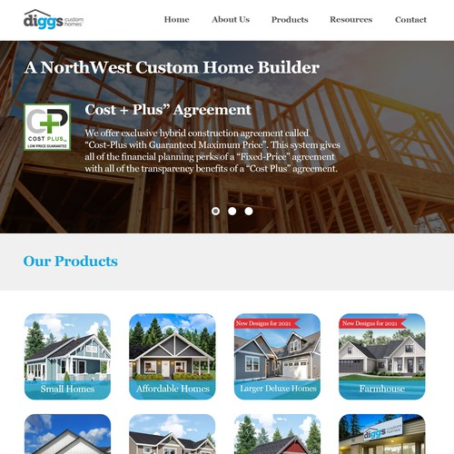 Building website with the title 'Diggs Custom Home proposal'
