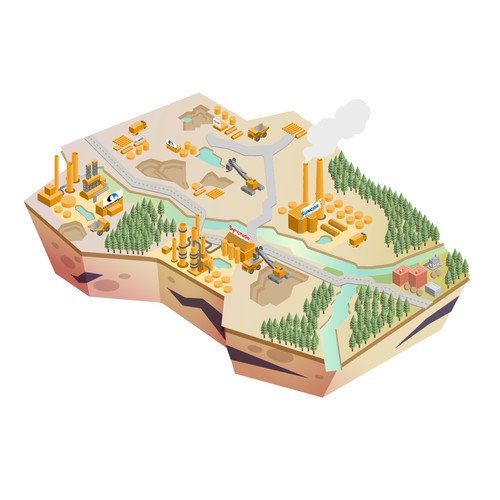 Isometric artwork with the title 'Isometric illustration'