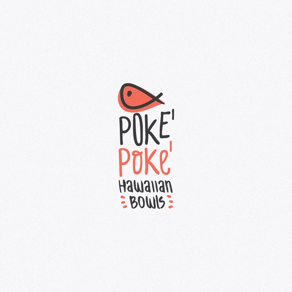 Poke logo with the title 'Logo for the poke hawaiian bowl'