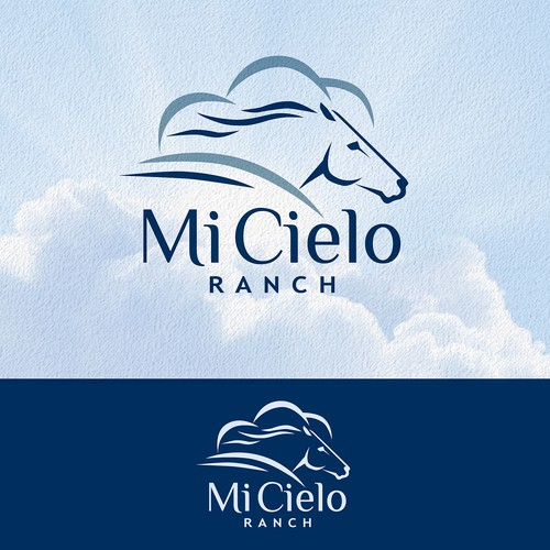 Cloud logo with the title 'Horse Racing Logo for Mi Cielo Ranch'