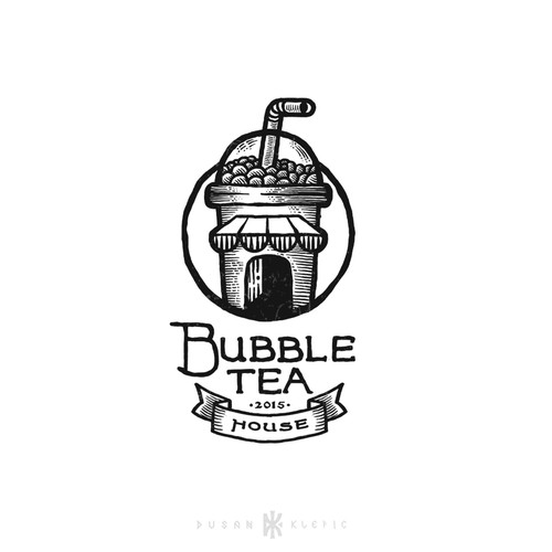 Hand-drawn logo with the title 'Bubble Tea House'