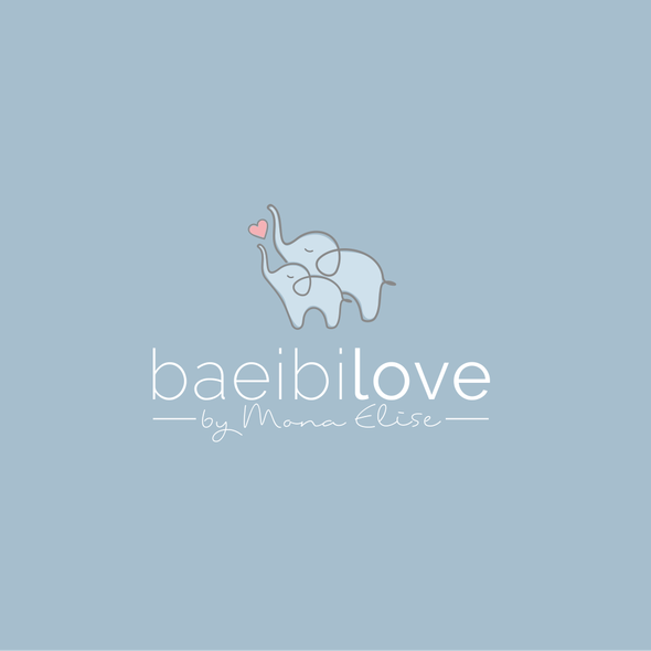 Baby and heart logo with the title 'Cute logo concept for baby clothing'