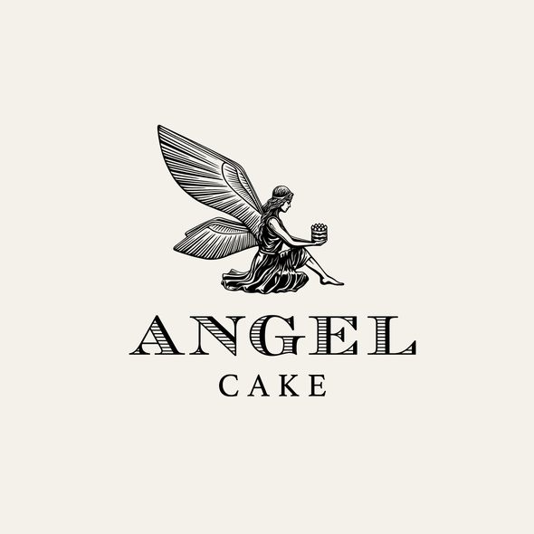 Patisserie logo with the title 'Angel Cake - logo design'