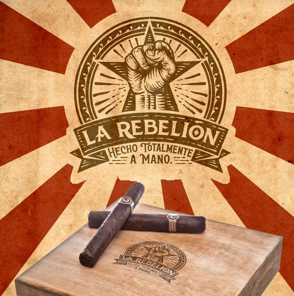Vintage label with the title 'La Rebellion hot stamp design for cigar box.'