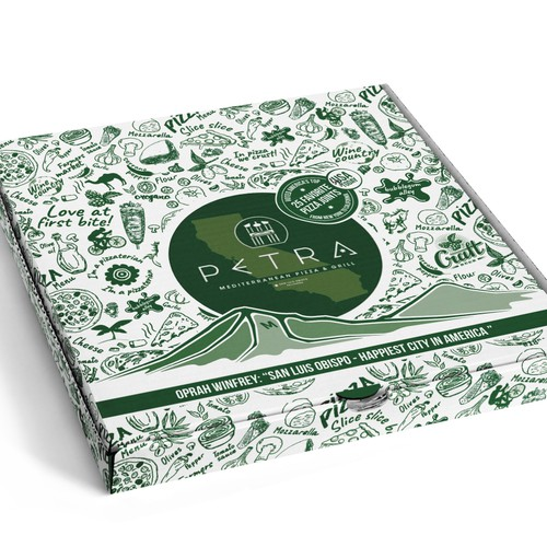 Pizza box packaging with the title 'Pizza box design'