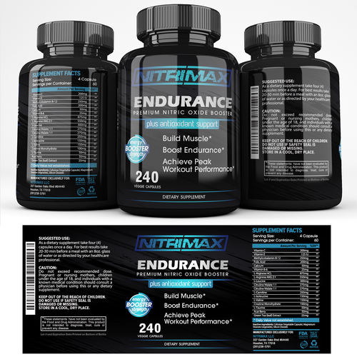 Masculine design with the title 'Nitrimax Supplements'