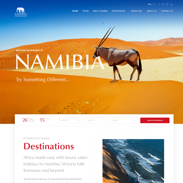 Booking website with the title 'Tourism site'