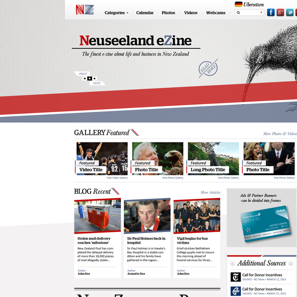 News website with the title 'Neuseeland eZine'