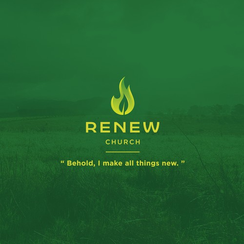 Nature logo with the title 'Flamed Leaf logo for church'