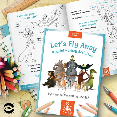 """Design with the title 'Book cover and typesetting for """"Let's Fly Away – Mindful Monkey Activities"""" by Katrina Maxwell.'"""