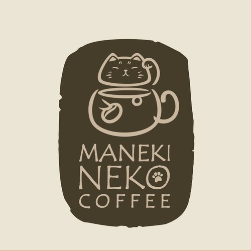 Whimsical brand with the title 'Logo for a ManekiNeko themed cafe'