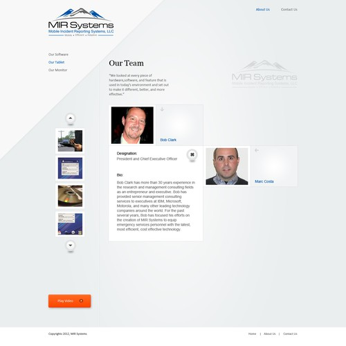 Police design with the title 'Website design for MIR Systems'