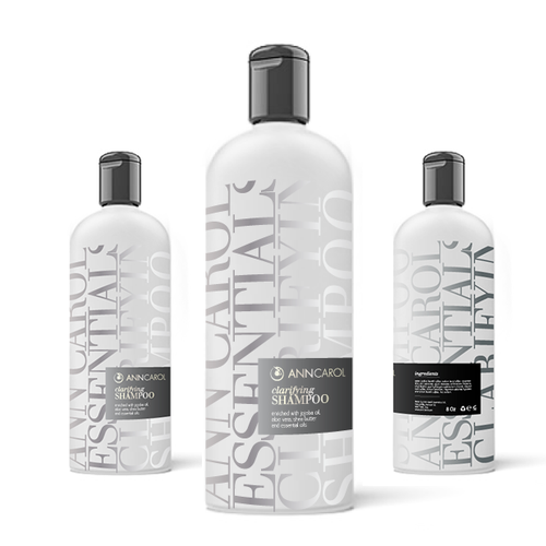 Shampoo design with the title 'Ann Carol beauty products'