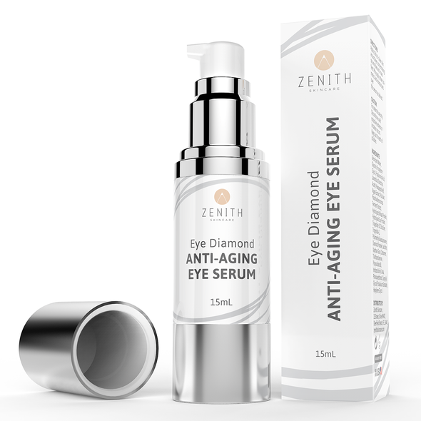 Serum packaging with the title 'Product label and packaging for 'Zenith''