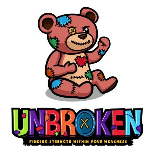 Bear mascot logo with the title 'Unbroken'