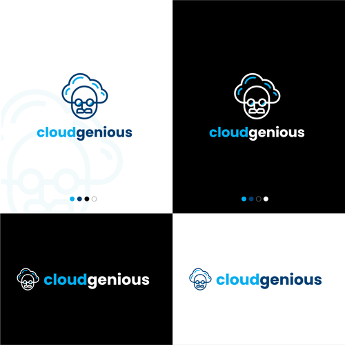 Cloud computing design with the title 'Clever Logo Design for cloudgenious'