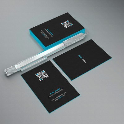 Create an elegant business card for an entrepreneurial hacker