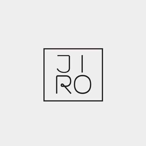 Square logo with the title 'Simple typographic logo for JIRO'