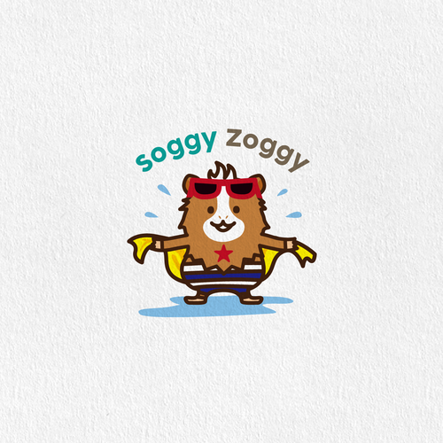 Guinea pig logo with the title 'swimming hamster'