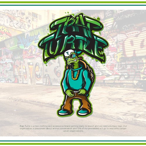Rap logo with the title 'Trap Turtle'