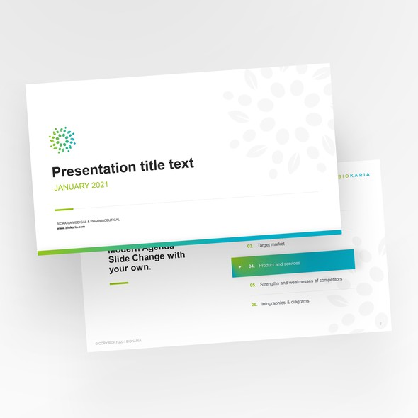 Report design with the title 'Medical presentation template design'