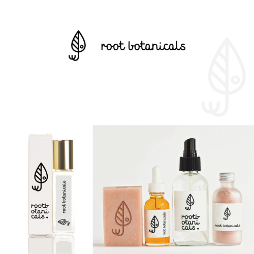 Botanical design with the title 'Logo for Root Botanicals'