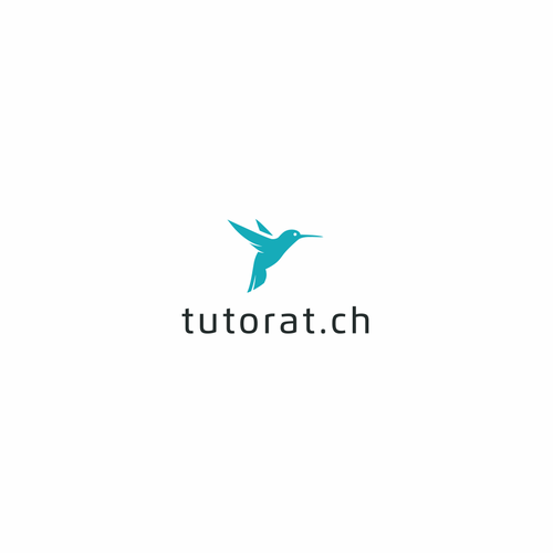 Flying bird logo with the title 'The Flying Hummingbird logo concept for Tutorat'