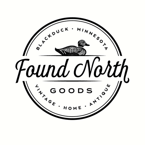 Duck hunting logo with the title 'Logo design for a vintage home boutique called Found North Goods'