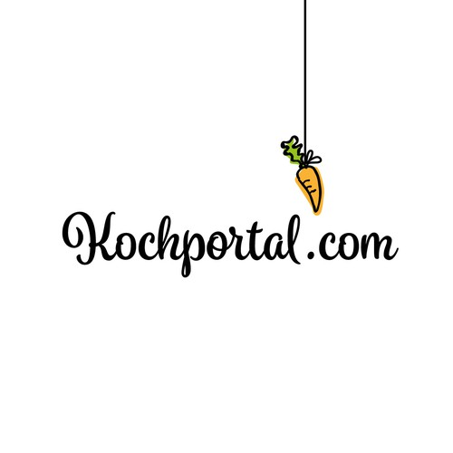 Carrot logo with the title 'Fun logo for a food related online portal.'