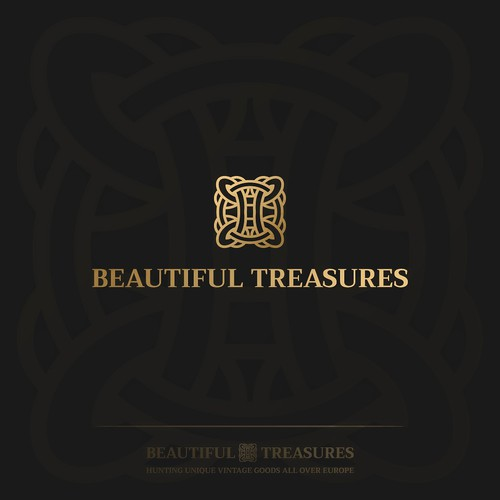 Black and gold logo with the title 'Beautiful Treasures'