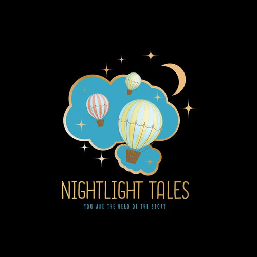 Hot air balloon design with the title 'Nightlights Tales'