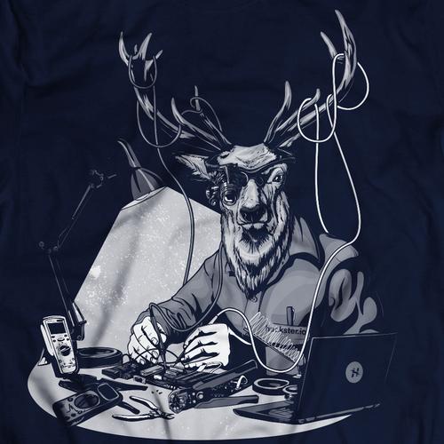 Deer design with the title 'Noble Deer Electrician'