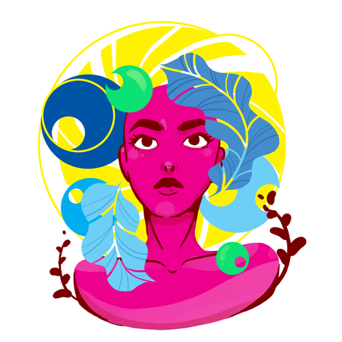 Digital illustration with the title 'Female Abstract Art'