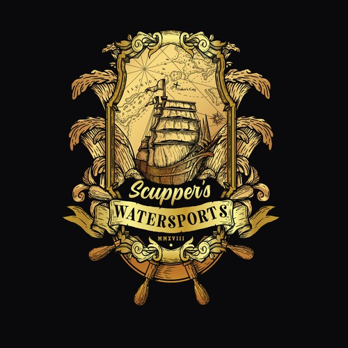 Ship logo with the title 'Scupper's Watersports'