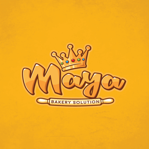Black crown logo with the title 'Maya Bakery'