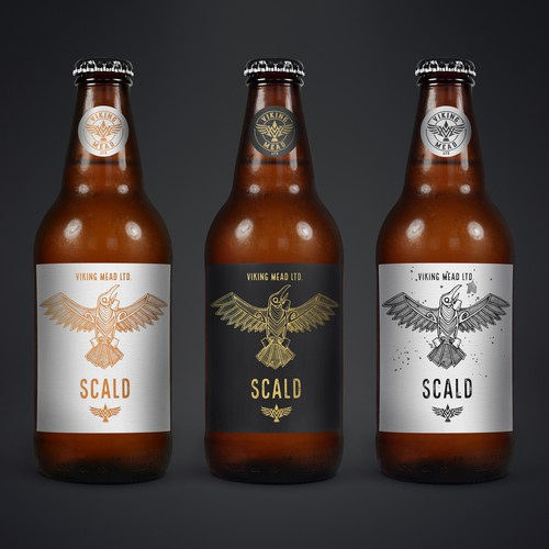Mead design with the title 'Label design and illustration for Viking Mead'