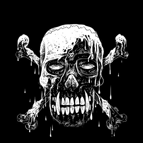 Metal t-shirt with the title 'Melting Skull'