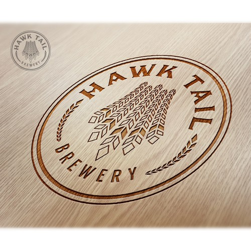 Brewing company logo with the title 'Hawk Tail Brewery'