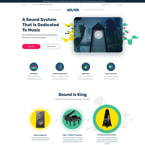 Speaker design with the title 'Ecommerce landing page'