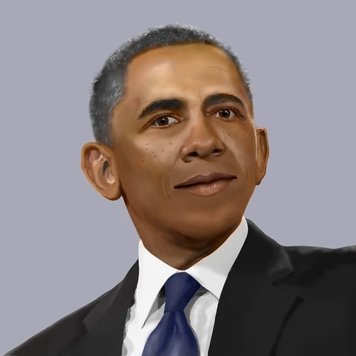 Person illustration with the title 'Realistic illustration of Obama'