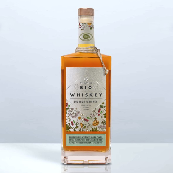 Stylish label with the title 'BIO Whiskey'