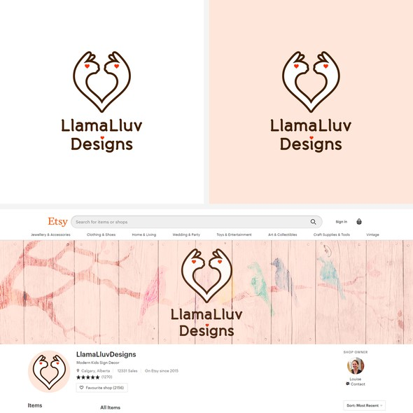 Web design logo with the title 'Etsy online store logo and banner design'