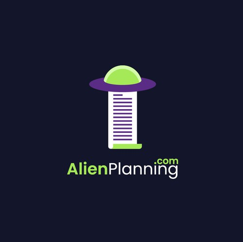 Alien logo with the title 'Simple yet Youthful Logo Concept for AlienPlanning.com'