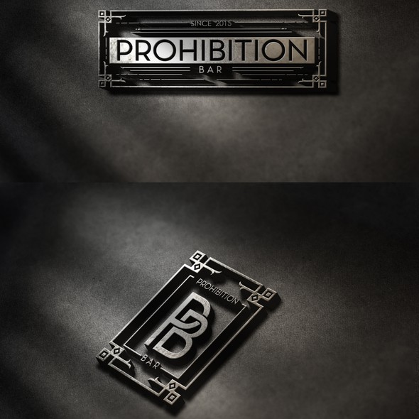 """Speakeasy logo with the title 'Bar in a Speakeasy Style """"Prohibition"""":'"""