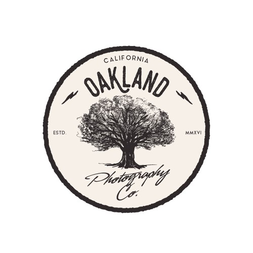 Oak tree logo with the title 'Logo for Oakland photography company.'
