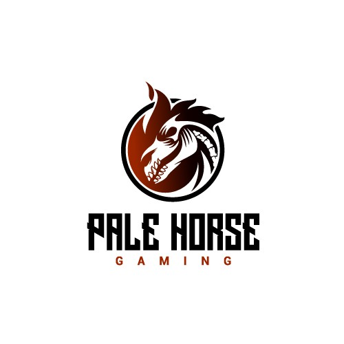 Flame logo with the title 'Badass Design of a Horse Skull for a Gaming Store'
